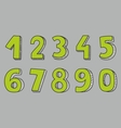 Hand drawn green numbers isolated on grey vector image vector image