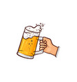 hand-drawn hand holding mug of beer ale cider vector image vector image