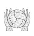 hands and ball for playing volleyball low poly vector image vector image