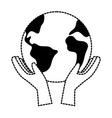 hands with world planet earth icon vector image