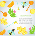 Honey background with flat honey elements poster