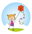 kid flying kite icon vector image