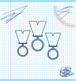 medal set line sketch icon isolated on white vector image
