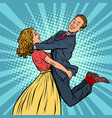 meeting lovers man and woman hugs girl carries a vector image vector image