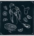 Menu design with seafood on blackboard vector image