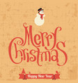 merry christmas retro greeting card vector image vector image