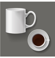realistic classic white cup vector image vector image