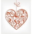 retro red patterned heart vector image vector image