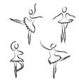 set abstract ballet dancers vector image