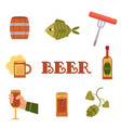 set of flat style colorful beer related icons vector image vector image
