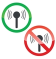 Signal permission signs set vector image