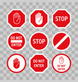 stop road sign hand no enter gesture vector image vector image