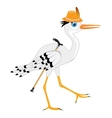 Stork in hat with walking stick vector image vector image