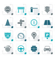stylized road and traffic icons vector image