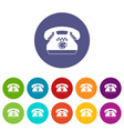 taxi phone set icons vector image vector image