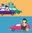 two transportation banners with space for text vector image vector image