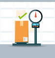 warehouse and box over scales logistic shipping vector image vector image