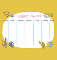 weekly planner with funny underwater animals vector image