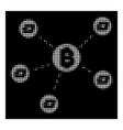 white halftone bitcoin dash network icon vector image
