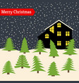 winter night with lonely house vector image vector image