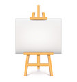 wood easel with white canvas isolated vector image vector image