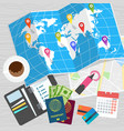 world travel card on table vector image