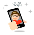 girl taking selfie photo on smart phone concept vector image