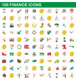 100 finance icons set cartoon style vector image