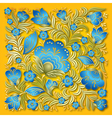 abstract summer blue floral ornament on yellow vector image