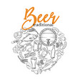 banner beer shape heart vector image