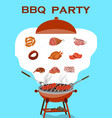 bbq background with barbecue and grilled meat and vector image vector image