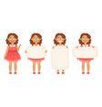 bundle of cute little girls holding various vector image vector image