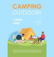 camping outdoors brochure template summer rest vector image