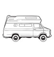 camping trailer car side view black and white vector image