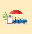 car insurance concept with people men and woman vector image vector image