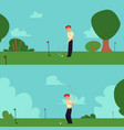 cartoon man playing golf in summer field - happy vector image