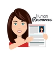 character woman with curriculum human resources vector image