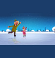 children couple skating on ice rink winter sport vector image