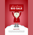 christmas sale card cute santa claus holding a vector image