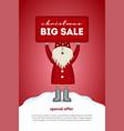 christmas sale card cute santa claus holding a vector image vector image