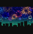 cityscape with celebration fireworks banner vector image vector image