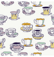 cups and saucers background vector image vector image