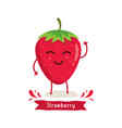 cute strawberry character vector image vector image