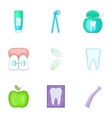 Dental icons set cartoon style vector image vector image
