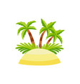 flat sand island with palm tree coconut vector image