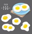 fried egg food cook meal breakfast cartoon vector image vector image