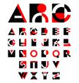 geometric red and black alphabet design vector image