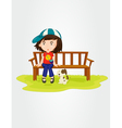 Girl sitting with dog vector image vector image