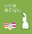 happy easter white bunny spring design vector image vector image