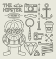 Hipster character design Linear vector image vector image